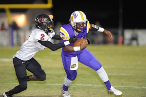 (Photo by Johnny Autery) Sweet Water RB Jaylin Johnson (23) fights for yards.